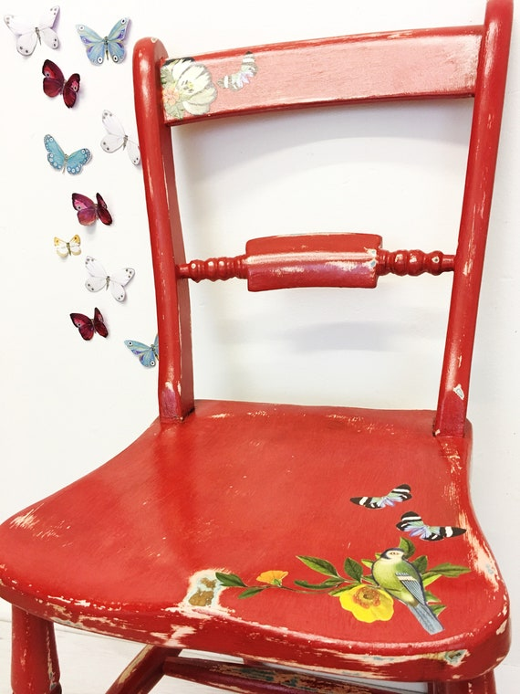 Chaise Pour Enfants Peinte En Rouge Traditionnelle Salon Etsy