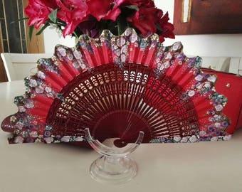 Fan, fan, hand painted