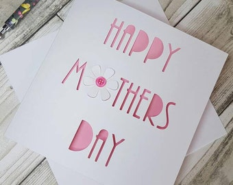 Happy Mothers day, Mothers Day Card, Handmade Mothers day Card, Mothers day, Card for Mum, Card for her,  Female card, Button flower