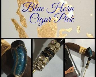 Blue Horn Cigar Stick, Cigar Poker, Cigar Holder, Nubber, Cigars, Cigar Accessory