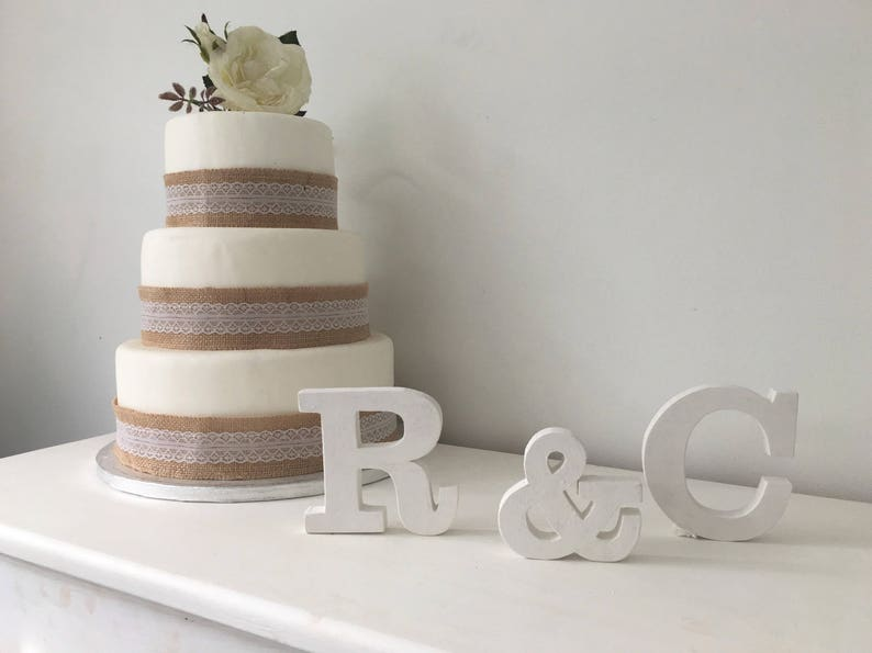 Personalised Wooden Wedding Cake Topper Initials White Chalk Paint