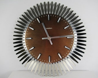 1970s Acctim Sunburst Wall Clock, Retro