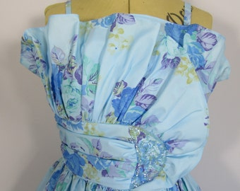 50s BLUE FLORAL Boned GOWN, Prom, Wedding, Occasion-6/8