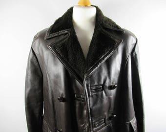 Beautiful Vintage 1970's Men's BENDYK Genuine Leather Coat, Chocolate Brown, Sheepskin Lined, Winter