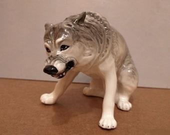Wolf porcelain figurine realistic Souvenirs Russia handmade Russian souvenir Russian porcelain
