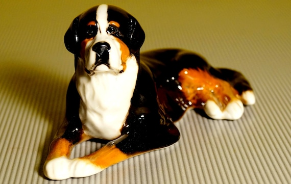 Bernese Mountain Dog Russian Porcelain Figurine Souvenirs From Russia Hand Painted High Quality