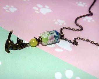 Antique bronze cat necklace - Glass bead necklace - Cat charm necklace - Pastel floral bead necklace - Bronze cat pendant necklace