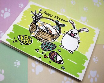 Funny Easter greeting card - Happy Easter card - Cat Easter greeting card - Easter bunny card - Funny Easter card - Cute Easter cat card
