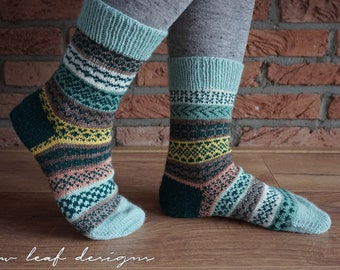 Striped and Stranded Socks PDF knitting pattern
