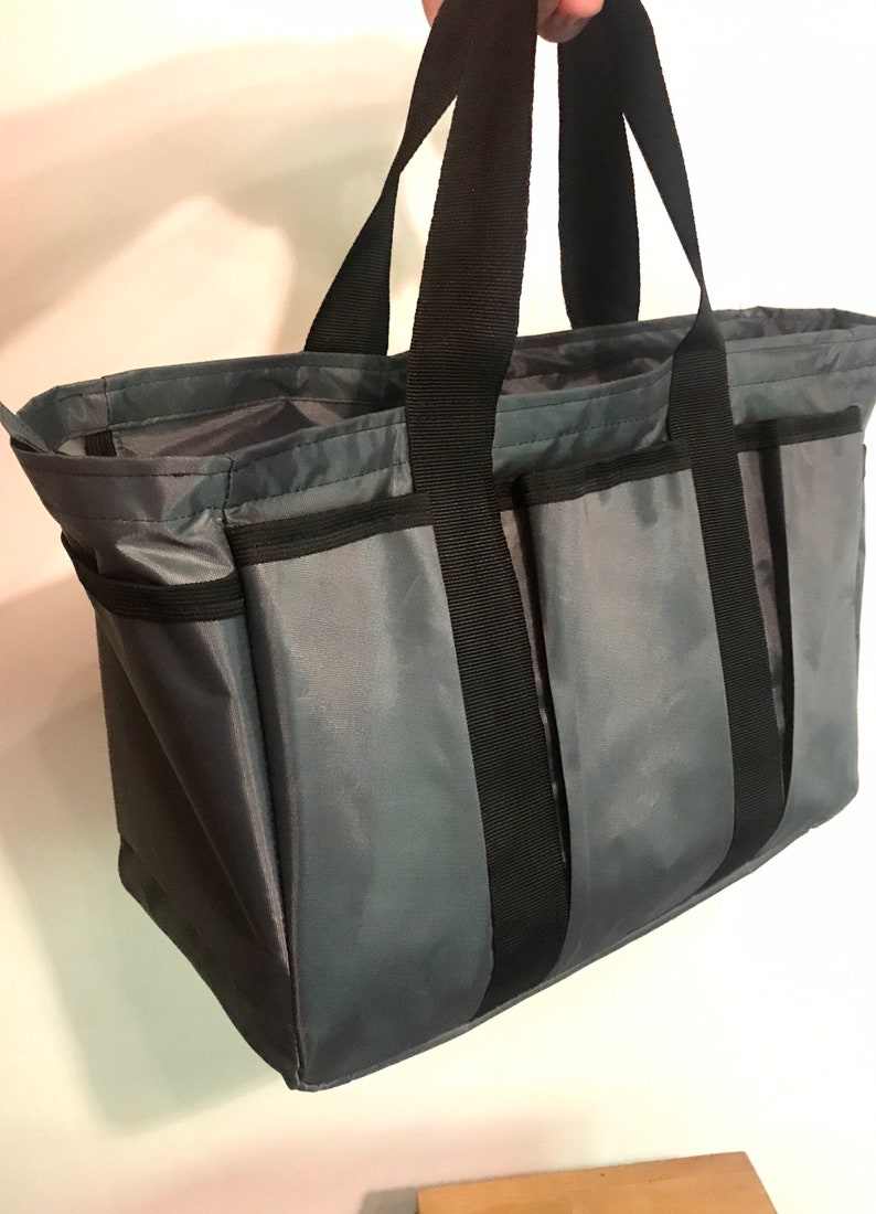 gray 10 pockets with zipper. Roomy bag for shopping picnic