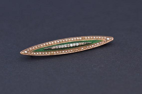 Antique diamond guilloche enamel gold brooch.