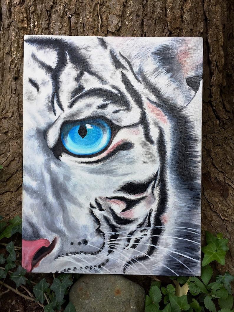 Bengal White Tiger Eye Painting Acrylic Art Zoo Animal ...