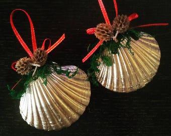 Beach Ornament - Seashell Ornament, Set of  2 Gold Shell Christmas Ornament, Seashell and Casuarina Pods