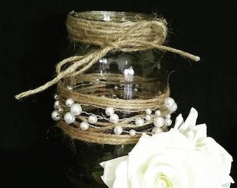 Pearl and Jute Mason Jars, Flower Vases, Rustic Wedding Centerpieces, Candle Holder, Baby Shower Decor, Nautical Wedding, Beach Wedding
