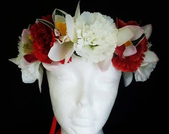 Flower Crown - Red and White Flower crown - Boho flower crown - Flower halo -  Floral hair wreath - Tropical flower crown - Photo Prop