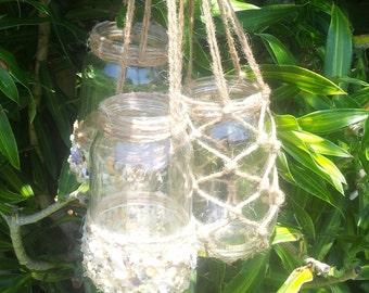 Hanging Mason Jars, Shell, Twine, Candle Holders