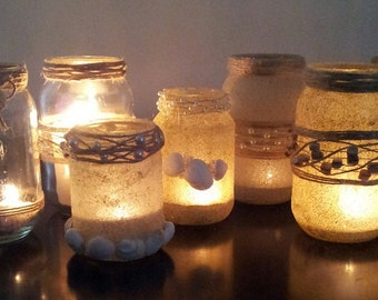 Sand, Shell, Glitter and Bead Mason Jars