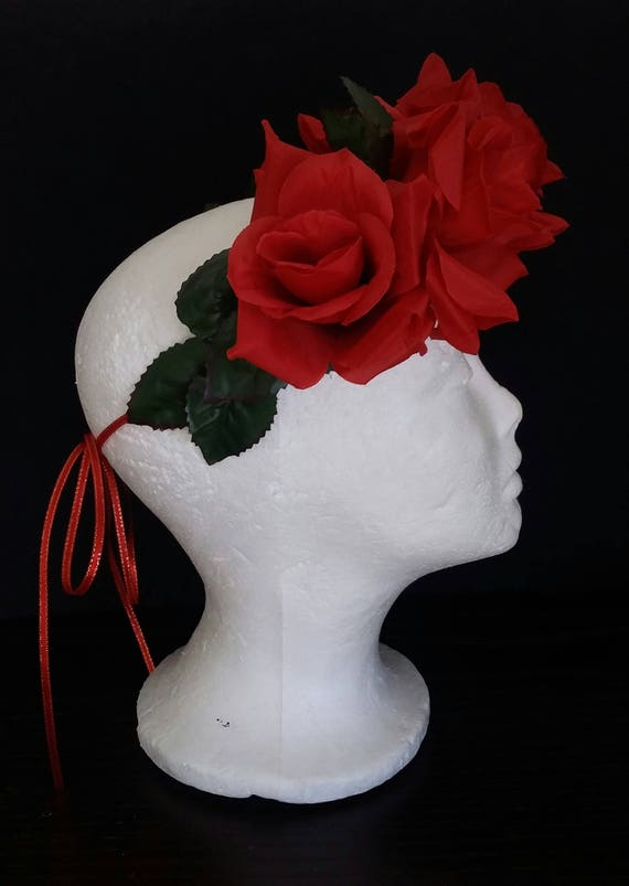 day of the dead flower crown rose crown races crown photo prop red roses crown Red Rose flower crown festival crown red roses crown