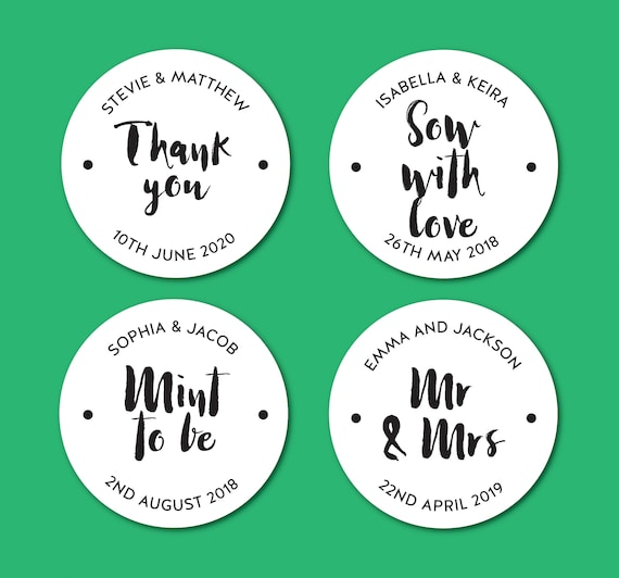 WEDDING FAVOUR STICKERS drink me we tied the knot take a shot popcorn labels V