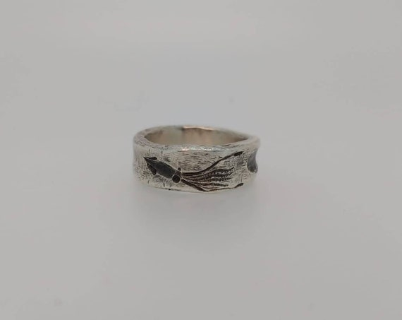 Rough ring/ deep engraved ring / sea whale spermwhale/silver 925/sea Animals/Hand made/