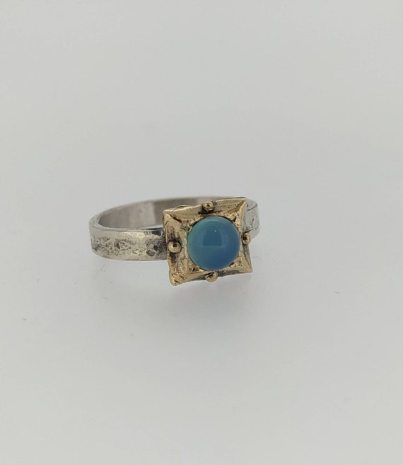 Roman ring/chalcedony/amethyst/ garnet/silver 925 and bronze/ancient ring/woman ring/Hand made/last wax tecnique/