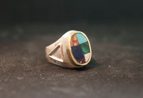 Silver ring // hand made// solid silver // ancient marbles and turquoise // ready to made// ancient shaope// man ring // woman ring