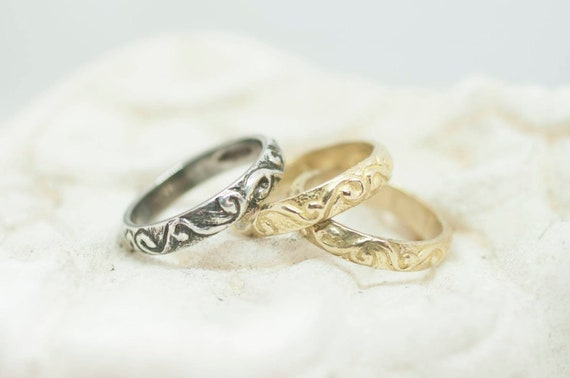 Faith ring / hand engraved rings/ ancient shape / solid silver / gold / hand made