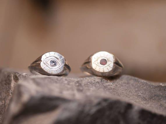 Silver ring // hand made // eye ring // garnet acquamarine Black diamond // signet ring // woman ring // man ring // engrave ring