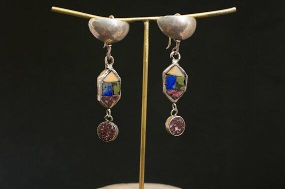 Silver earrings// hand made // ancient shape // Roman marbles // original design // Roman earrings
