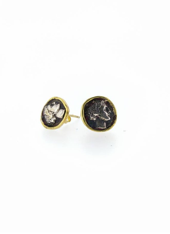 Ancient earrings/ Roman earrings/ solid silver /hand made /18 k Gold player/antiquejewelry/handmadejewelry