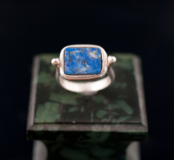 silver ring // lapis lazuli // ancient design // hand made//free shipping worldwide