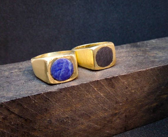 Signet ring // stone ring // lapis ring // woman ring // men ring // hand made // solid bronze //solid silver/ ancient marbles