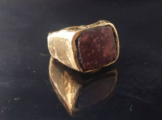 Bronze ring// ancient shape// ancient marble// man ring// woman ring// accessories// hand made// solid bronze //