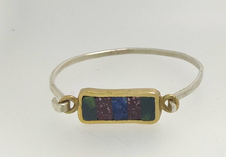 Silver 925 Bracelet bronzeAntique Marble Lapislazzuli Antique Redserpentineancient braceletHand made Jewelryantique Jewelry