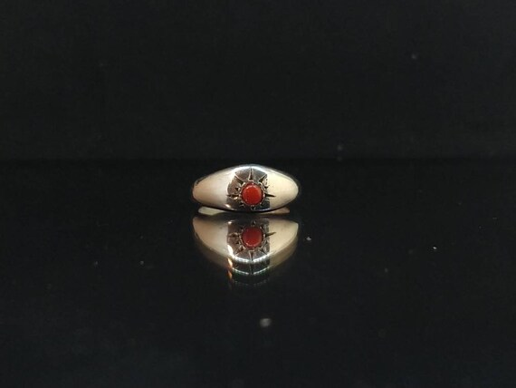 Silver ring // solid silver // Victorian ring // old ring // ancient shape // anniversary ring // woman ring // hand made/ red coral