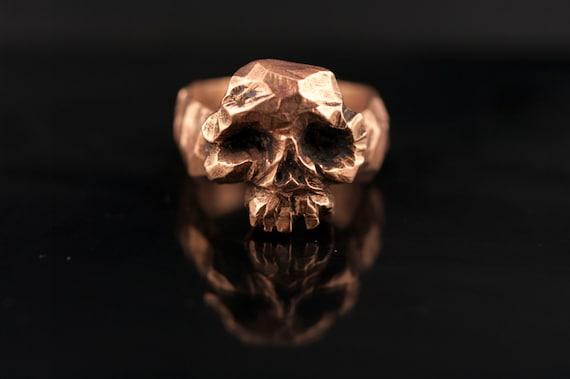 bronze skull ring // stone shape // biker ring // pirates ring // man ring// hand made //free shipping