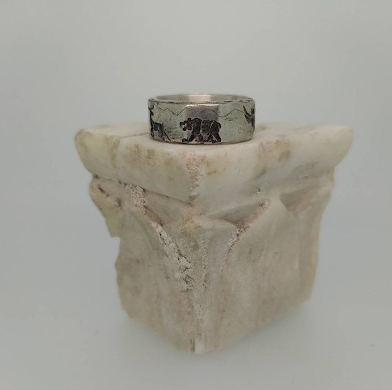 Rough ring/ deep engraved ring / /silver 925/forest Animals/Hand made/bear owl hare deer lynx