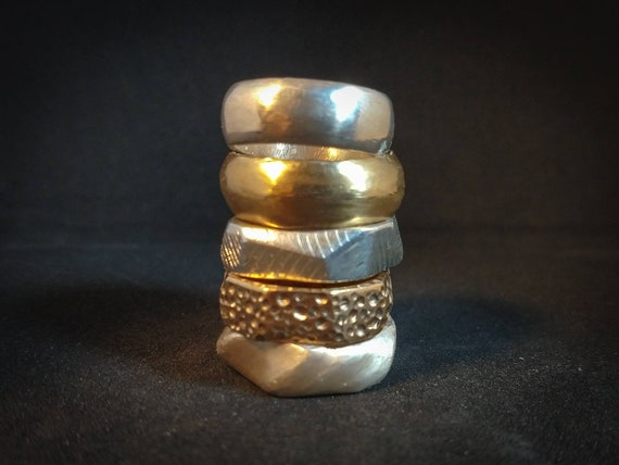 Band ring // silver ring // bronze ring // brass ring // hand made // rough ring // solid silver