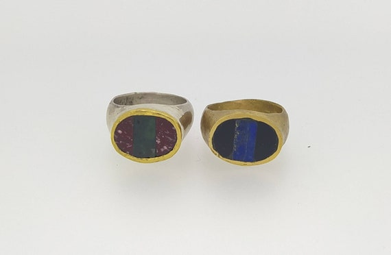 Signet ring // stone ring // lapis ring // woman ring // men ring // hand made // solid bronze //solid silver/ ancient marbles/serpentino/