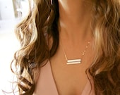 Double Bar Necklace Personalzied Name Plate Two Nameplate Engraved custom Jewelry 14K Gold Filled, Rose Gold, Sterling Silver, Everyday
