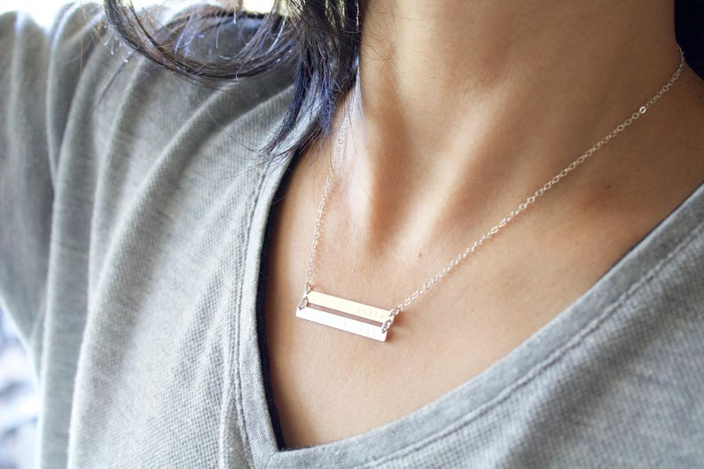 Silver Double Bar NecklaceSilver bar NecklaceTwo Nameplate NecklacePersonalized Bar NecklaceEngraved Bar NecklaceGold Rose Gold