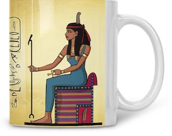 Goddess Maat mug / Ma'at mug / ancient egypt toast / your egyptian name in hieroglyphs