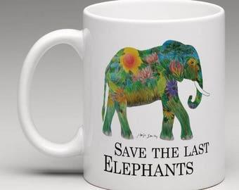 "Tasse Elefant / weiße Tasse Elefant Motiv / Elefant Tasse / Geschenk Elefant / Elefantentasse ""Save the last Elephants "" / Tierschutz"