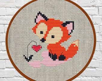 Fox cross stitch pattern pdf fox Cross Stitch Pattern modern Cute cross Stitch woodland animal cross stitch pattern modern cross stitch