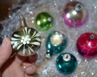 Vintage ornaments set faceted glass balls retro Xmas tree decoration Soviet vintage decoration 52 Rustic Christmas 1950s boho glass set