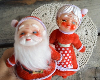 vintage mr mrs santa claus christmas ornaments flocked santa 6 inch santa 1950s christmas decorations mid century red xmas decor - Etsy Christmas Decorations