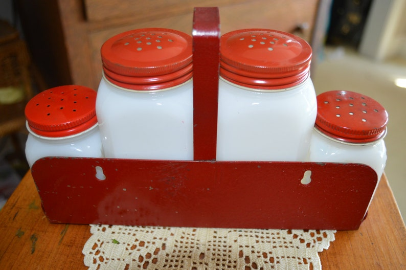 Fathers Day Gift Hazel Atlas Gift for Him Vintage Milk Glass Spice Set Flour Depression Glass Red Rack 4 Shakers Gift for Her 1930s