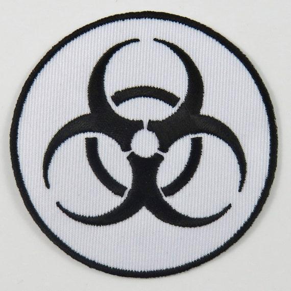 Biohazard Symbolsign White Iron On Sew On Embroidered Etsy