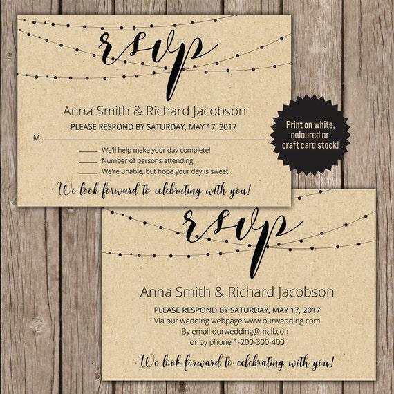 Rsvp Postcard Rsvp Template Rsvp Wedding Cards Rsvp Digital Card