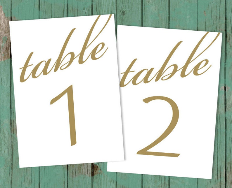 PDF Instant Download Table Numbers Table Numbers Cards DIY Table Numbers. Printable Table Numbers Wedding Table Numbers for Wedding